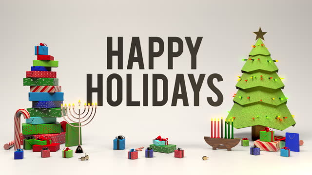 Happy holidays banner with christmas tree, menorah, kwanzaa candles, gifts, candy canes, and dreidels.