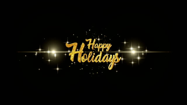 happy holidays beautiful golden greeting text appearance from blinking particles with golden fireworks background. - happy holidays стоковые видео и кадры b-roll