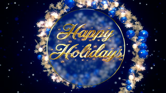 happy holidays blue ornaments - snowflake background stock videos & royalty-free footage