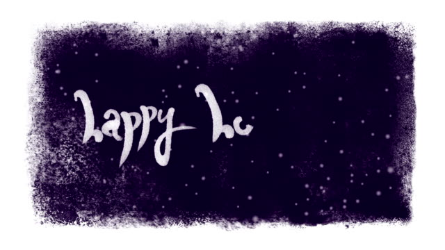 Happy Holidays Calligraphic Lettering with Snow inside a Frozen Frame video