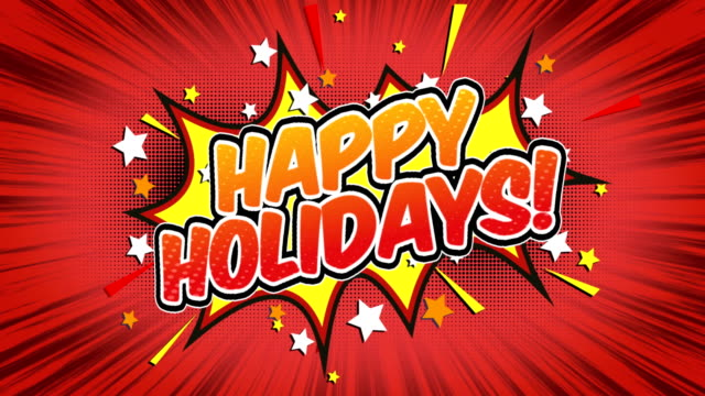 happy holidays - comic style text - happy holidays stock videos & royalty-free footage
