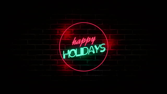 4K Happy Holidays neon Sign on Brick Wall