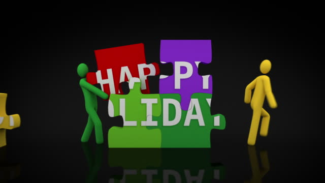 Happy holidays puzzle. Black background. video