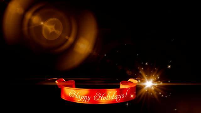 happy holidays ribbon, holiday wishes - happy holidays stock videos & royalty-free footage