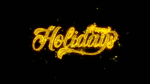 happy holidays spark text  typography written with golden particles sparks fireworks - happy holidays stock videos & royalty-free footage