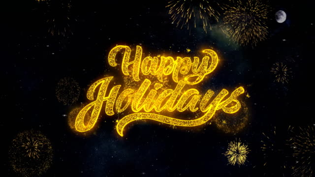 happy holidays text wishes reveal from firework particles greeting card. - happy holidays stock videos & royalty-free footage