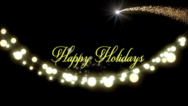 happy holidays with a glowing string of fairy lights - happy holidays стоковые видео и кадры b-roll