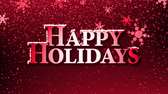 happy holidays with snow (hd loop) red - happy holidays stock videos & royalty-free footage