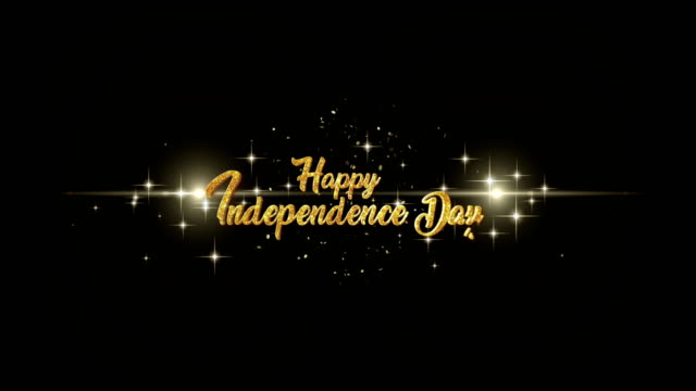 happy independence day beautiful golden greeting text appearance from blinking particles with golden fireworks background. - independence day stock videos and b-roll footage