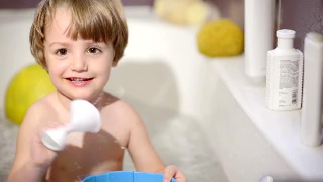 Happy kid in bathroom video