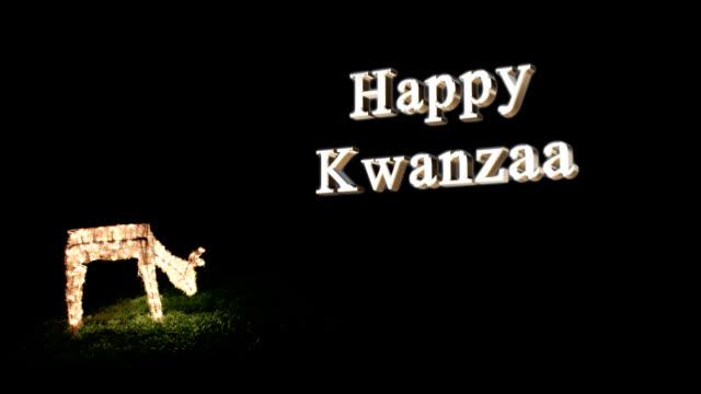 happy kwanzaa with holiday deer - kwanzaa stock videos and b-roll footage