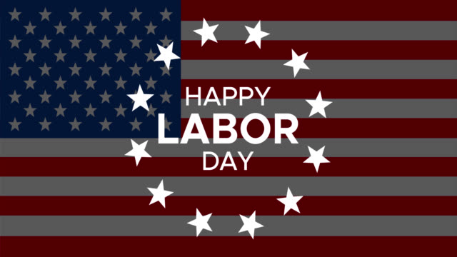 happy labor day animated banner or greeting card with text, circle rotated stars - {{relatedsearchurl(carousel.phrase)}} video stock e b–roll
