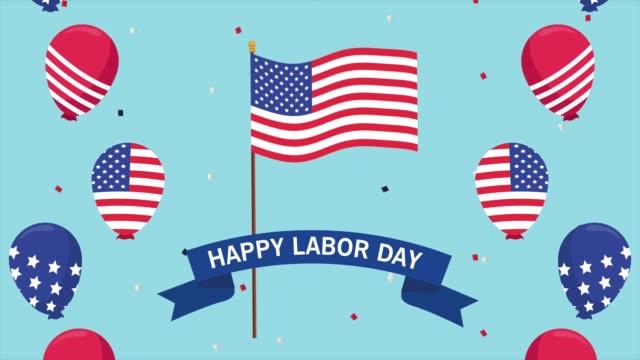 abd bayrağı ve balonlar helyum ile mutlu emek günü kutlama - full hd format stok videoları ve detay görüntü çekimi