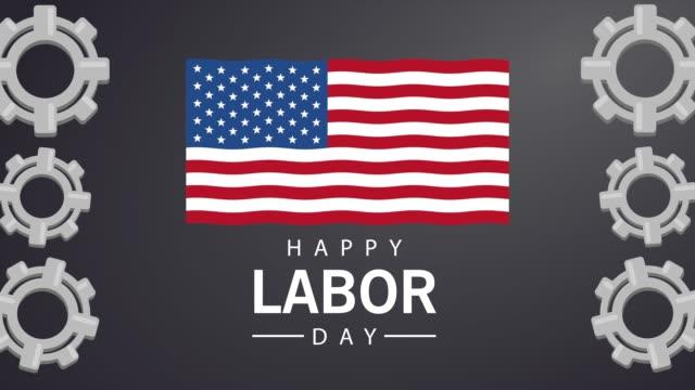abd bayrağı ve dişliler ile mutlu emek günü kutlama - full hd format stok videoları ve detay görüntü çekimi