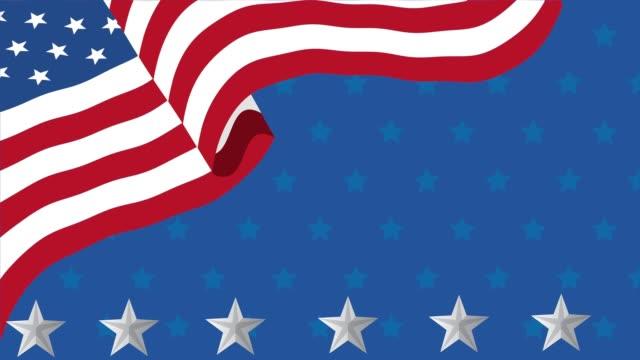 abd bayrağı ve yıldız ile mutlu işçi bayramı kutlaması - full hd format stok videoları ve detay görüntü çekimi