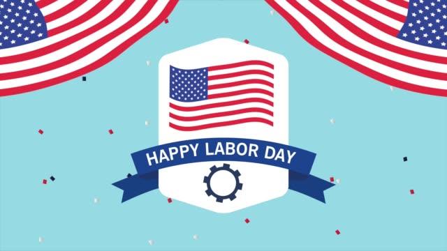 abd bayrağı ile mutlu işçi bayramı kutlaması - full hd format stok videoları ve detay görüntü çekimi