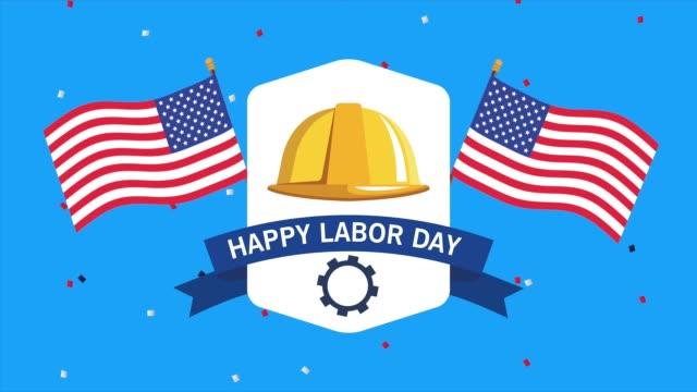 abd bayrakları ve kask inşaat ile mutlu işçi bayramı kutlaması - full hd format stok videoları ve detay görüntü çekimi