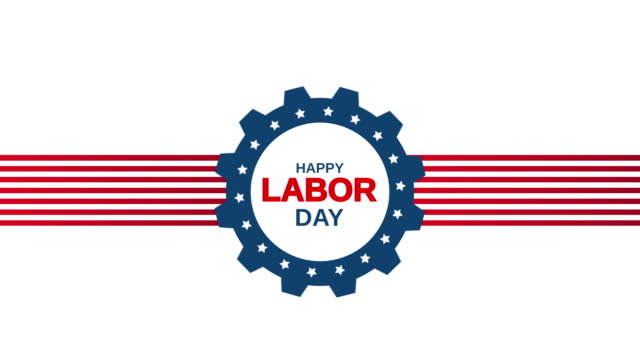 Happy Labor Day on white background. 4k animation video