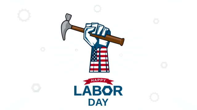 vídeos y material grabado en eventos de stock de feliz día del trabajo con la mano sosteniendo martillo. animación 4k - día del trabajo