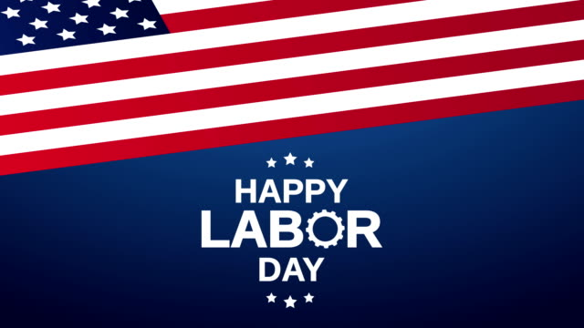 Happy Labor Day with USA flag. 4k animation video