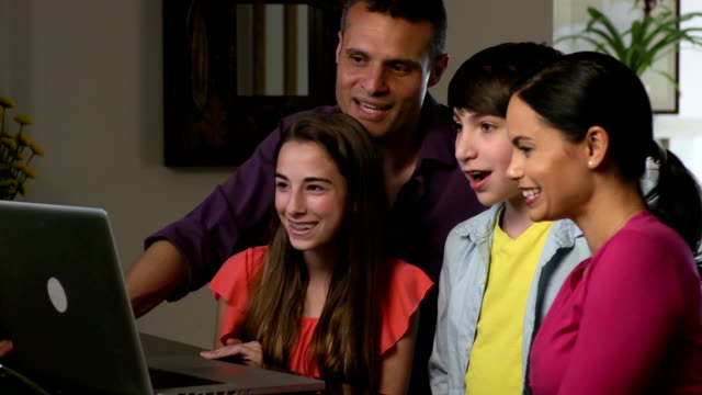 Happy Latin Family Video Conferences with Relatives b video