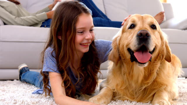 Happy little girl with her dog video