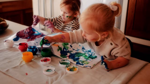 Happy Little Girls Having Fun Finger Painting At Home Stock Video More Clips Of 12  Istock
