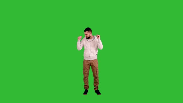 Happy Man dancing on green screen background video