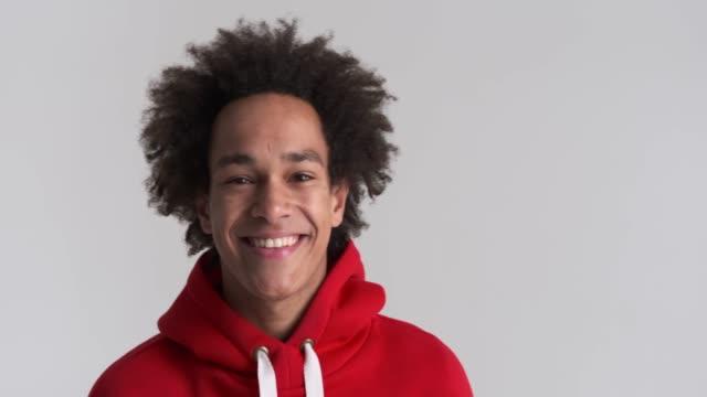 Happy man in red hoodie video
