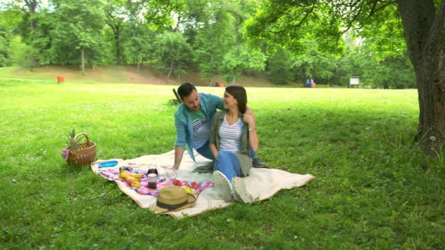 公園でのピクニックに彼のガール フレンドを驚くほど幸せな男。 - ピクニック点の映像素材/bロール