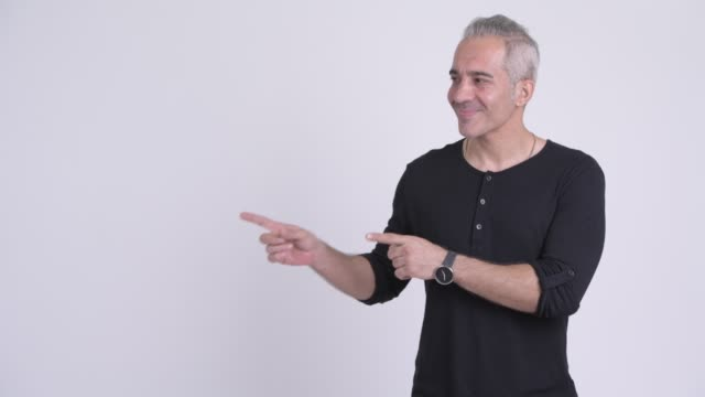 happy mature persian man with gray hair - manica video stock e b–roll