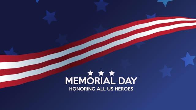 счастливый день памяти надписи сша рамкой флага - memorial day стоковые видео и кадры b-roll