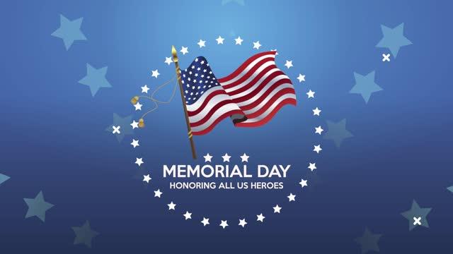 счастливый день памяти надписи с сша развевающийся флаг - memorial day стоковые видео и кадры b-roll