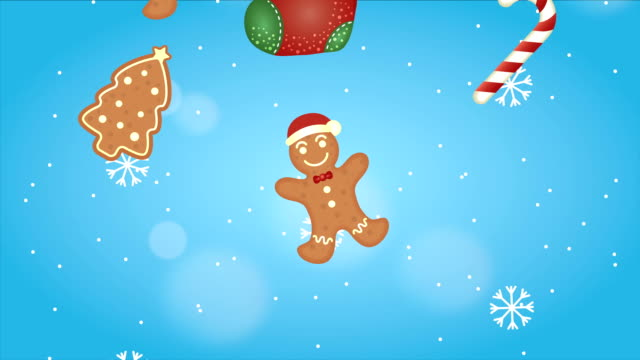 vídeos de stock e filmes b-roll de happy merry christmas animation with ginger cookies - christmas cookies