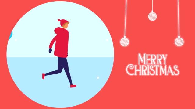 frohe frohe weihnachtskarte mit mann in der schneelandschaft - comic font stock-videos und b-roll-filmmaterial