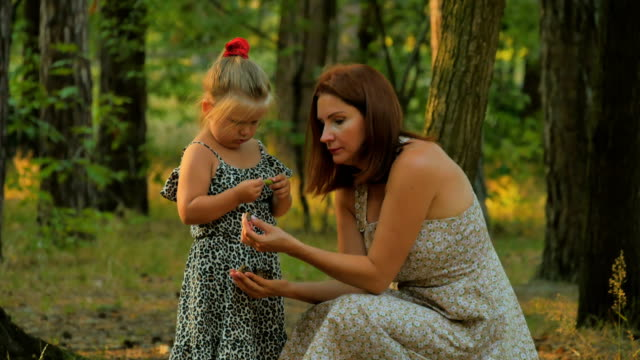 Happy mother and daughter collects acorns and cones in summer forest video