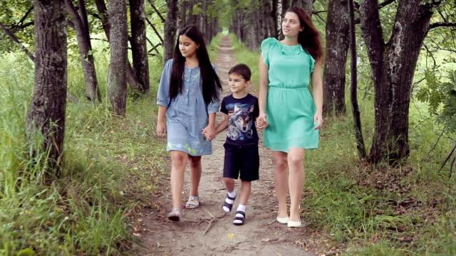 娘と息子は夏の晴れた日に手を繋いでいる笑みを浮かべて公園散策と幸せな母 - 兄弟点の映像素材/bロール