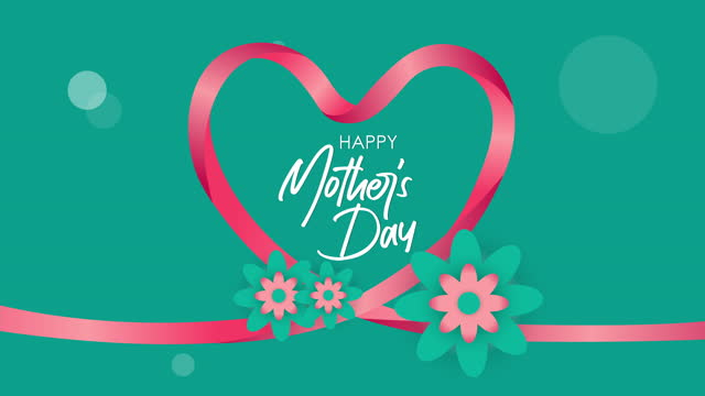 Happy mother's day greeting animation. Motion template with flowers and flare. Animated mothers day ribbon heart background. Happy mother's day greeting animation. Motion template with flowers and flare. Animated mothers day ribbon heart background. mothers day stock videos & royalty-free footage