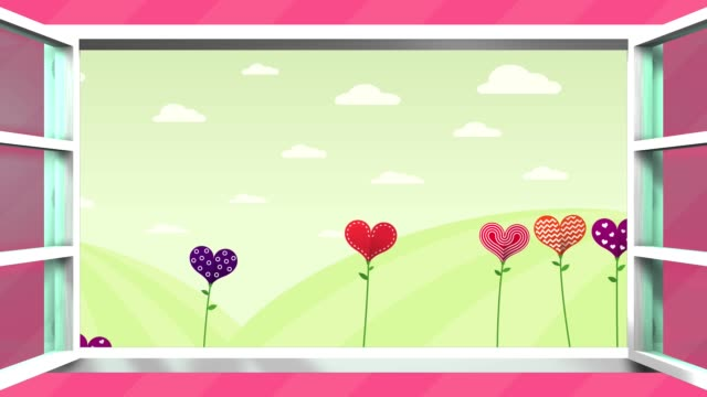 happy mother's day greeting card. field of flowers in the shape of a heart of different colors inside a white window that opens on a pink background. sequence with copy space. - mothers day stock videos & royalty-free footage