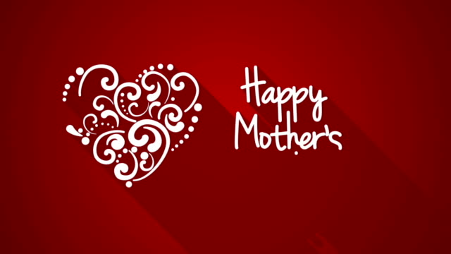 happy mother's day greeting with long shadows - mothers day stock videos & royalty-free footage