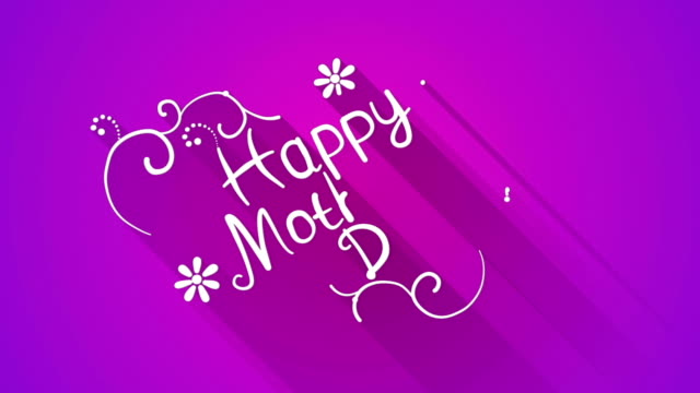 Happy mother's day text flat style animation Happy mother's day text. Flat style animation with long shadow. The last 5 seconds are loopable. mothers day stock videos & royalty-free footage