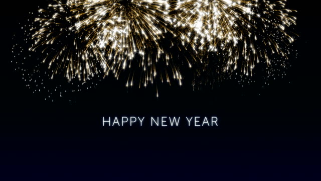 Happy new year 2018 social post card with gold animated fireworks on elegant black and blue background.Celebration concept animation for festive event video