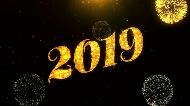 Happy new year 2019 Greeting Card text Reveal from Golden Firework & Crackers on Glitter Shiny Magic Particles Sparks Night for Celebration, Wishes, Events, Message, holiday, festival video