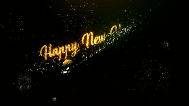 happy new year 2019 greeting text made from sparklers light dark night sky with colorfull firework. - new years stock videos & royalty-free footage
