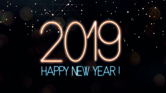 Happy New Year 2019 Text animation with lights and sparkle bokeh video