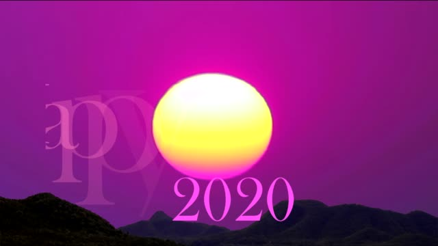happy new year 2020 colorful text and first sunrise of year - повторный запуск стоковые видео и кадры b-roll