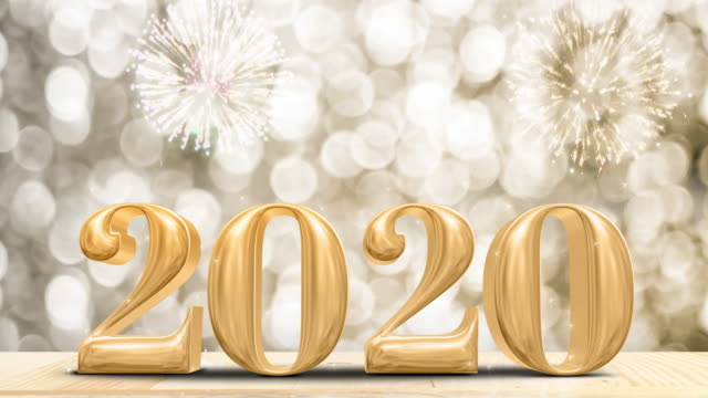 happy new year 2020 gold glossy with fireworks on modern wood table and leg with sparkling gold bokeh wall,holiday celebration concept - new years stock videos & royalty-free footage
