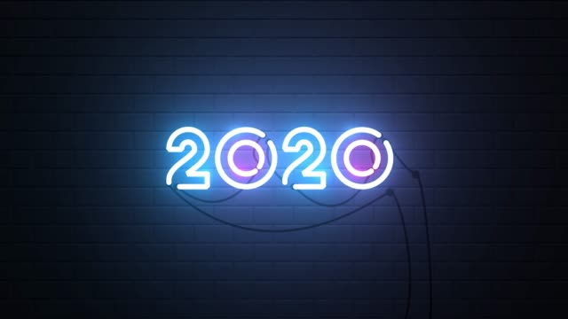 Happy New Year 2020 neon sign background