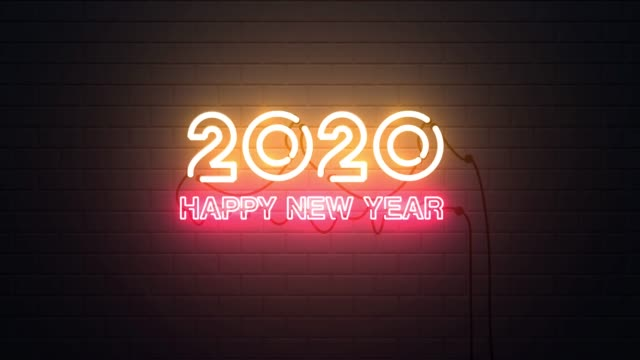 happy new year 2020 neon sign background - new years stock videos & royalty-free footage