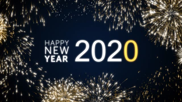 Happy new year 2020 social post card with gold animated fireworks on elegant black and blue background.Celebration animation for festive event.New year wishes.Congratulate new year.Loop animation Happy new year 2018 social post card with gold animated fireworks on elegant black and blue background.Celebration concept animation for festive event. pyrotechnic effects stock videos & royalty-free footage